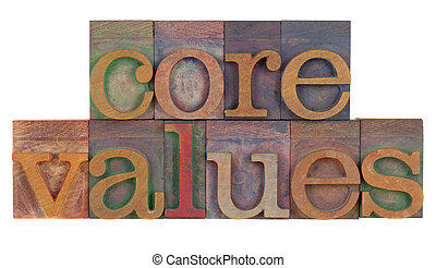 core values - ethics concept - core values words in vintage...
