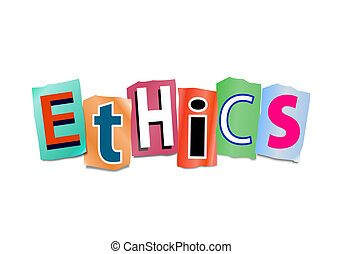Ethics concept. - Illustration depicting cutout printed...