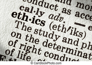 """Dictionary definition of the word """"ethics"""", in macro."""