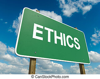 ethics - A road sign with ethics words on sky background