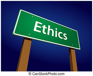 Ethics Green Road Sign Illustration on a Radiant Blue Background.