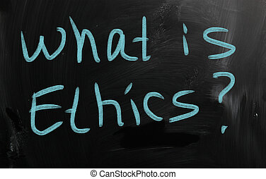 """Ethics"" handwritten with white chalk on a blackboard"