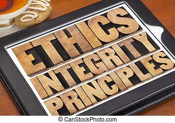 ethics, integrity and principles word abstract - ethical...