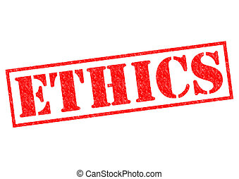 ETHICS red Rubber Stamp over a white background.