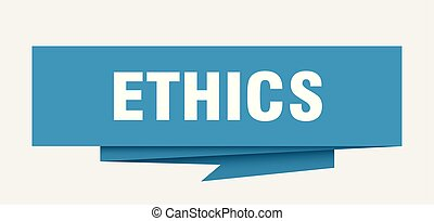 ethics sign. ethics paper origami speech bubble. ethics tag. ethics banner