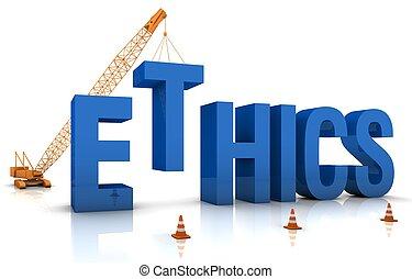 Ethics - Construction site crane building a blue 3D text....
