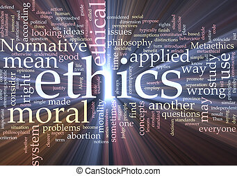 Ethics word cloud glowing - Word cloud concept illustration...