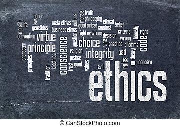 ethics word cloud on blackboard