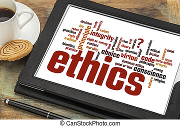 ethics word cloud on digital tablet