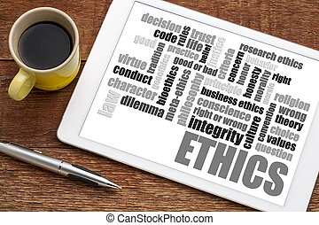 ethics word cloud on tablet with coffee