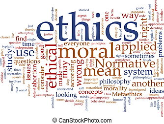 Word cloud concept illustration of moral ethics
