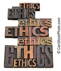 ethics word collage in vintage wood letterpress printing...