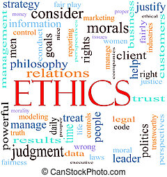 Ethics word concept illustration - An illustration around ...