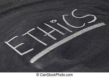 ethics word on blackboard