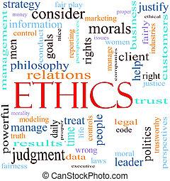 ethiek, concept, woord, illustratie
