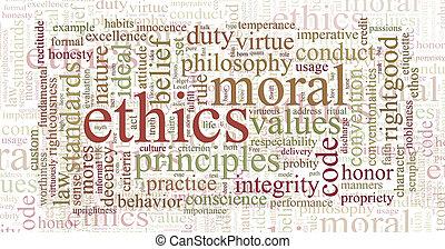 ethiek, en, principes, woord, wolk