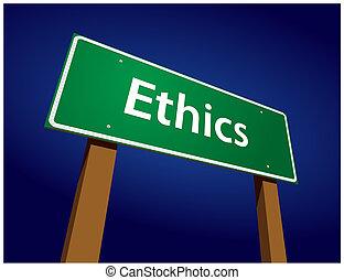 ethiek, groene, straat, illustratie, meldingsbord