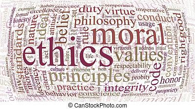 ethiek, woord, principes, wolk