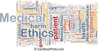 ethiek, wordcloud, concept, medisch, achtergrond