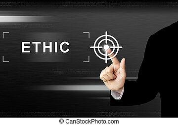 ethiek, zakelijk, knoop het duwen, hand, aanraakscherm