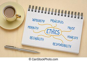 ethik, vertrauen, -, rechtschaffenheit, mindmap, begriff