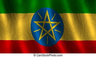 ethiopië, looping, achtergrond, vlag