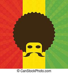 ethiopië vlag, afro, achtergrond, man