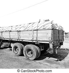 ethiopia afric the truck full of bags of salt - in danakil...