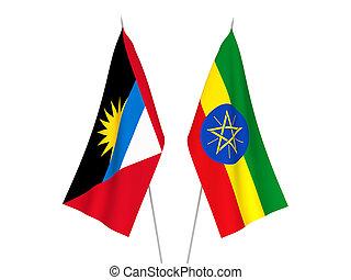 Ethiopia and Antigua and Barbuda flags - National fabric ...