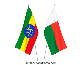 Ethiopia and Madagascar flags - National fabric flags of ...