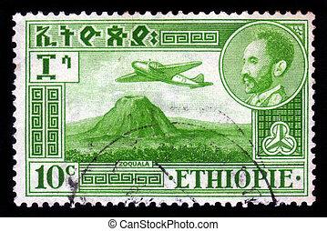 emperor Haile Selassie and plane Douglas DC-3 over Zoquala ...