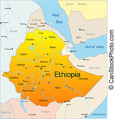 Ethiopia country - Abstract vector color map of Ethiopia...