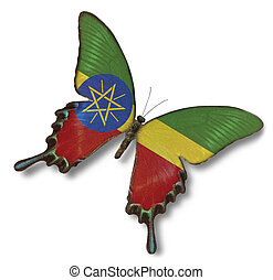 Ethiopia flag on butterfly
