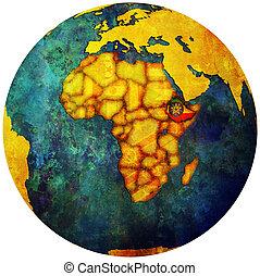 ethiopia flag on globe map