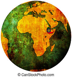 ethiopia flag on globe map