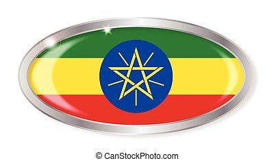 Ethiopia Flag Oval Button