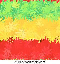 Ethiopia flag seamless pattern. Jamaica reggae music vector. Colorful africa theme design. Positive cannabis leaves background