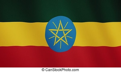 Ethiopia flag waving animation. Full Screen. Symbol of the country.
