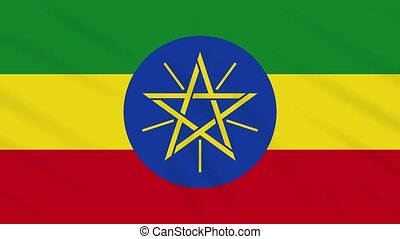 Ethiopia flag waving cloth, ideal for background, loop