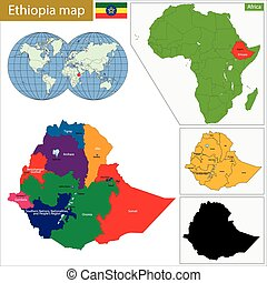 Ethiopia map - Administrative division of the Federal ...