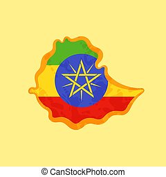 Ethiopia - Map colored with Ethiopian flag