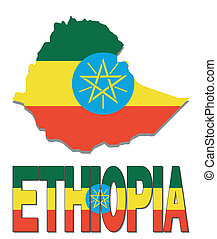 Ethiopia map flag and text