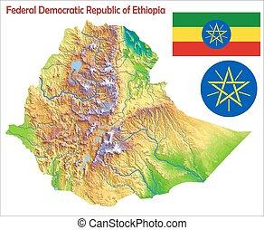 Ethiopia map flag coat
