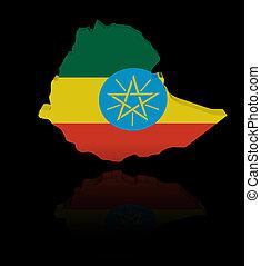 Ethiopia map flag with reflection illustration