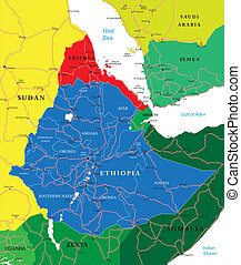 Highly detailed vector map of Ethiopia with administrative regions, main cities and roads.