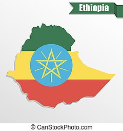 Ethiopia map with flag inside and ribbon