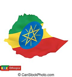 Ethiopia map with waving flag of country.