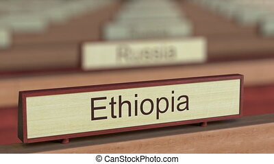 Ethiopia name sign among different countries plaques at...