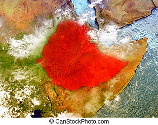 Ethiopia on illustrated globe