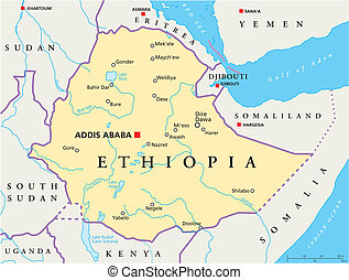 Political map of Ethiopia with capital Addis Ababa, national borders, most important cities, rivers and lakes. Vector illustration with English labeling and scaling.